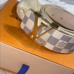 LV Initials Damier Azur Blue/White Belt